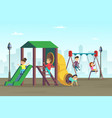 happy childhood kids playing on playground area vector image