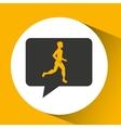 man runner sport emblem laurel branch vector image