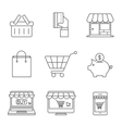 Online Shopping Icons Line vector image