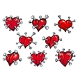 Red hearts pierced by nails vector image