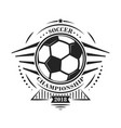 soccer championship logotype or emblem in retro vector image