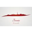 Toronto skyline in red vector image