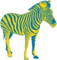 Yellow Blue Zebra vector image
