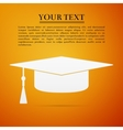 Graduation cap flat icon on orange background vector image