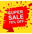 Big sale poster with SUPER SALE 70 PERCENT OFF vector image