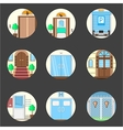 Colored icons collection of entrance doors vector image vector image