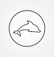 Dolphin outline symbol dark on white background vector image