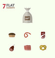 flat icon meal set of bratwurst sack fizzy drink vector image