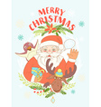 Funny Merry Christmas card with Santa Claus vector image