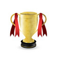 golden sport trophy with dark pedestal and red vector image