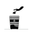 recycle trash can with hand vector image