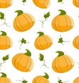 Seamless pattern with orange pumpkins and green vector image