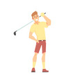smiling cartoon golf palyer character standing vector image
