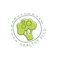 Fresh Vegan Food Promotional Sign With Broccoli In vector image