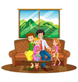 Family members sitting in living room vector image