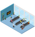 waiting hall interior isometric view vector image