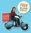 hand drawing of delivery service man riding a vector image vector image