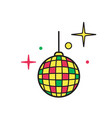 disco ball icon shiny illuminated simbol vector image