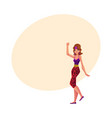 Girl woman in 80s style aerobics outfit leopard vector image