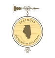 Vintage label Illinois vector image