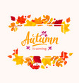 Autumn is coming banner with autumn leaves frame vector image