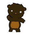 comic cartoon waving black bear cub vector image