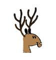 cute deer cartoon christmas horn image vector image