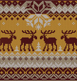 Scandinavian flat style knitted pattern with deers vector image