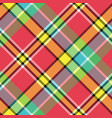 madras bright color check plaid seamless fabric vector image