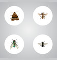 realistic wasp butterfly midge and other vector image