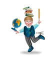 boy and school subjects vector image