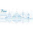 Outline Kiev skyline with blue buildings vector image