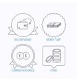 Currency exchange cash money and coins icons vector image
