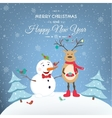 Christmas New Year happy snowman and deer vector image