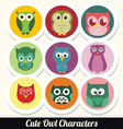 cute owl characters vector image