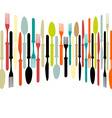 Cutlery dishe spoon knife and fork vector image