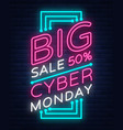 cyber monday banner in fashionable neon vector image