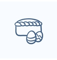 Easter cake with eggs sketch icon vector image