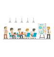 flat design cartoon meeting business people vector image