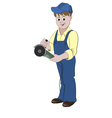 The repairman standing with a angle grinder or saw vector image