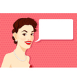Vintage brunette girl is speaking vector image