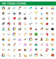 100 yoga icons set cartoon style vector image