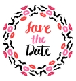 Lips and mustache wedding wreath post card vector image