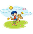 Boy playing on rocking horse vector image