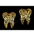 Golden tooth in floral style vector image vector image