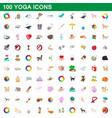 100 yoga icons set cartoon style vector image