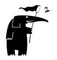 elefant and bird of paradise silhouette vector image
