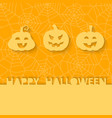 Three orange pumpkins on the background of the web vector image vector image