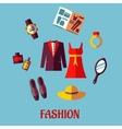 Flat fashion icons vector image vector image