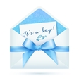Blue baby shower envelop with bow vector image vector image